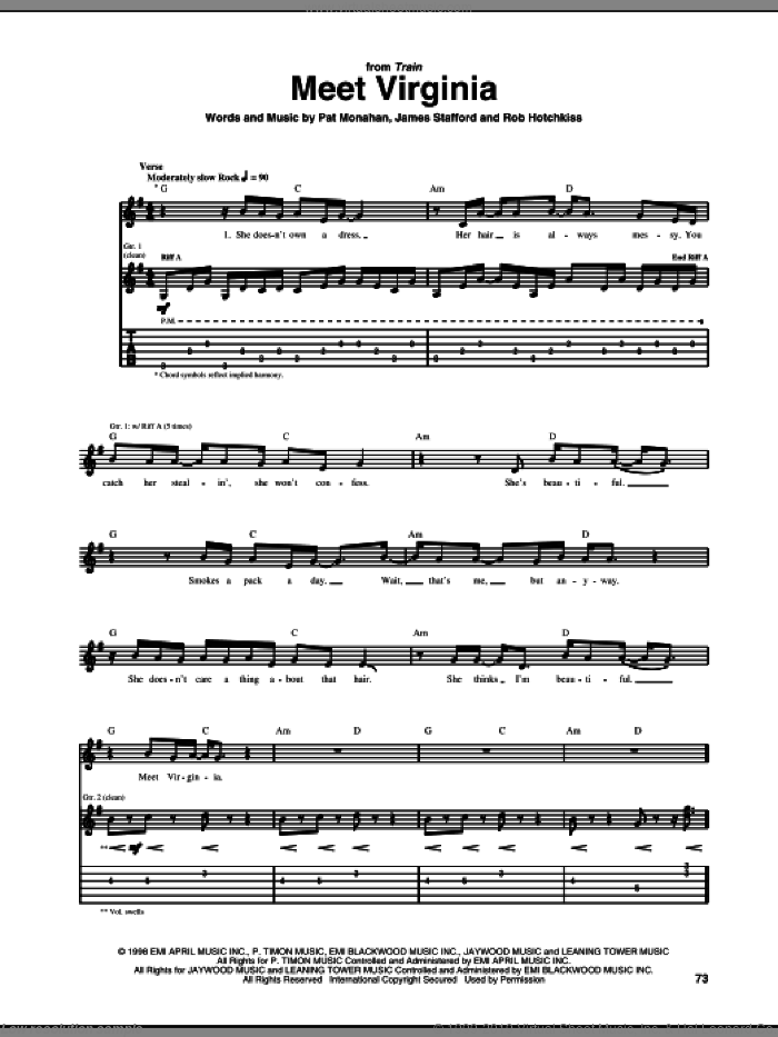 Meet Virginia sheet music for guitar (tablature) by Rob Hotchkiss, Train and Pat Monahan. Score Image Preview.