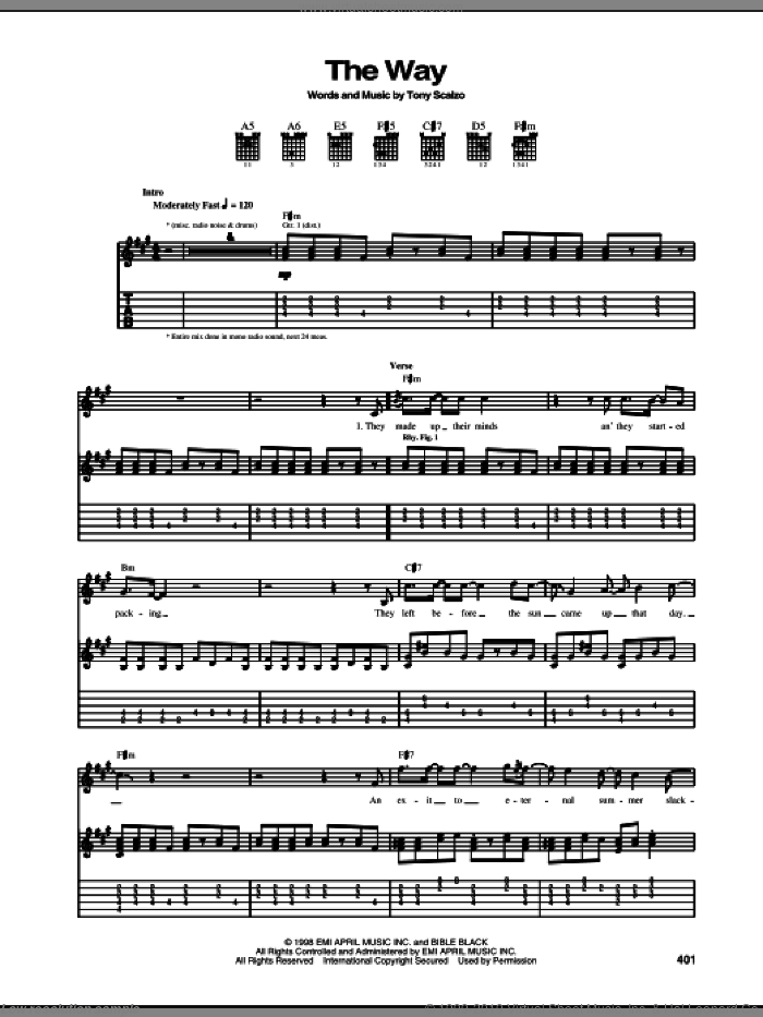 The Way sheet music for guitar (tablature) by Fastball. Score Image Preview.