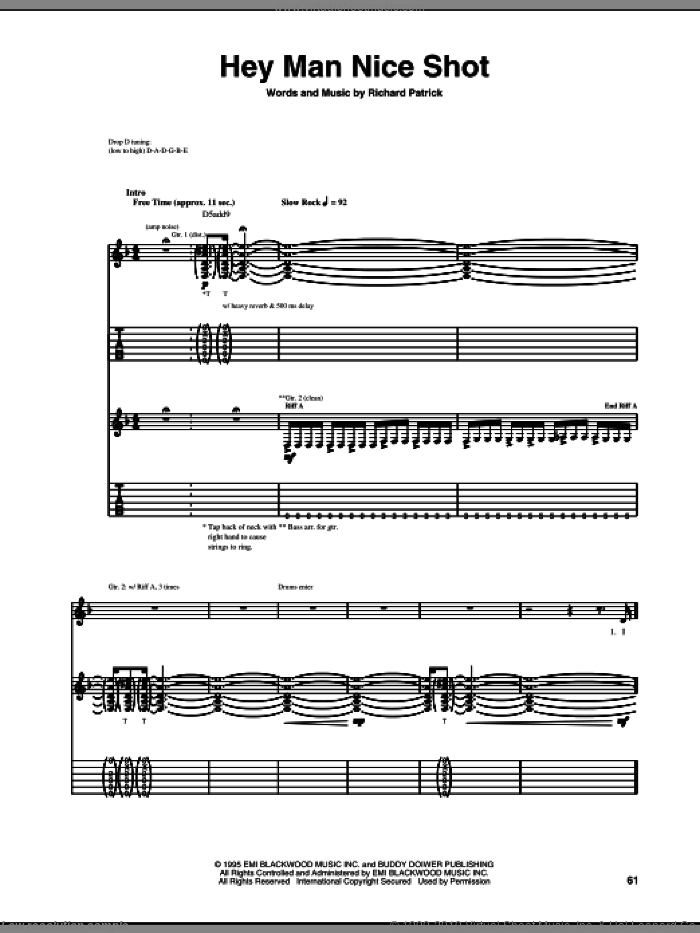 Hey Man Nice Shot sheet music for guitar (tablature) by Richard Patrick and Filter. Score Image Preview.
