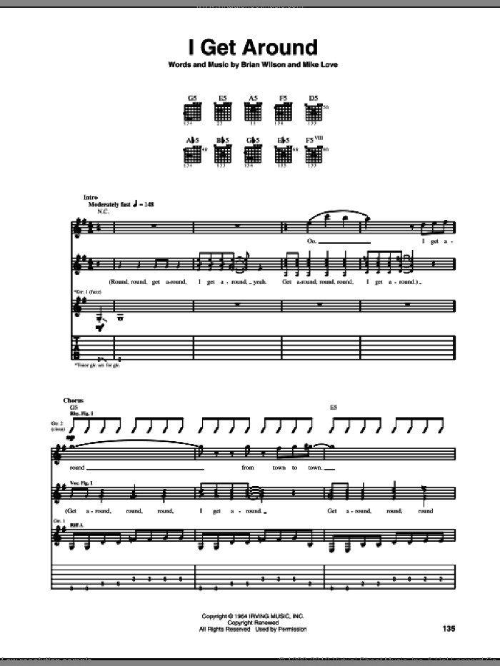 I Get Around sheet music for guitar (tablature) by The Beach Boys, Brian Wilson and Mike Love, intermediate skill level