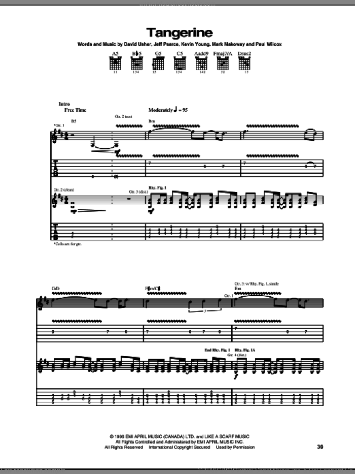 Tangerine sheet music for guitar (tablature) by Paul Wilcox. Score Image Preview.