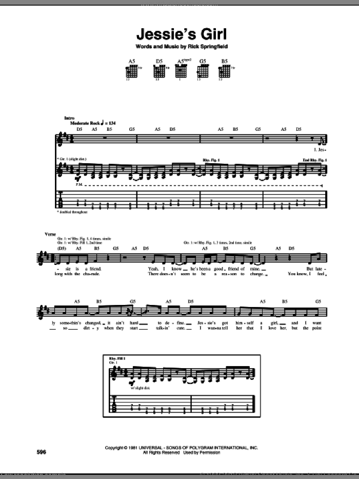 Jessie's Girl sheet music for guitar (tablature) by Rick Springfield, intermediate. Score Image Preview.