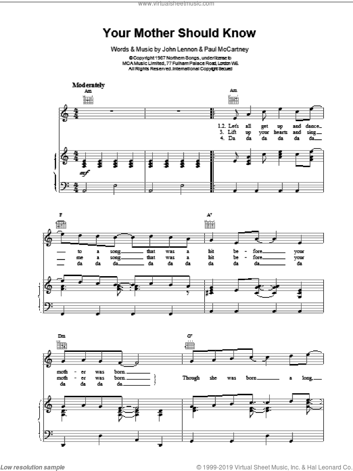 Your Mother Should Know sheet music for voice, piano or guitar by The Beatles, intermediate. Score Image Preview.