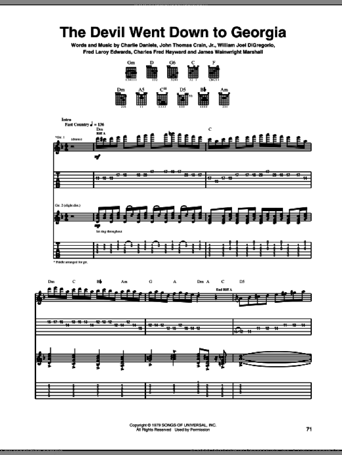 The Devil Went Down To Georgia sheet music for guitar (tablature) by William Joel DiGregorio