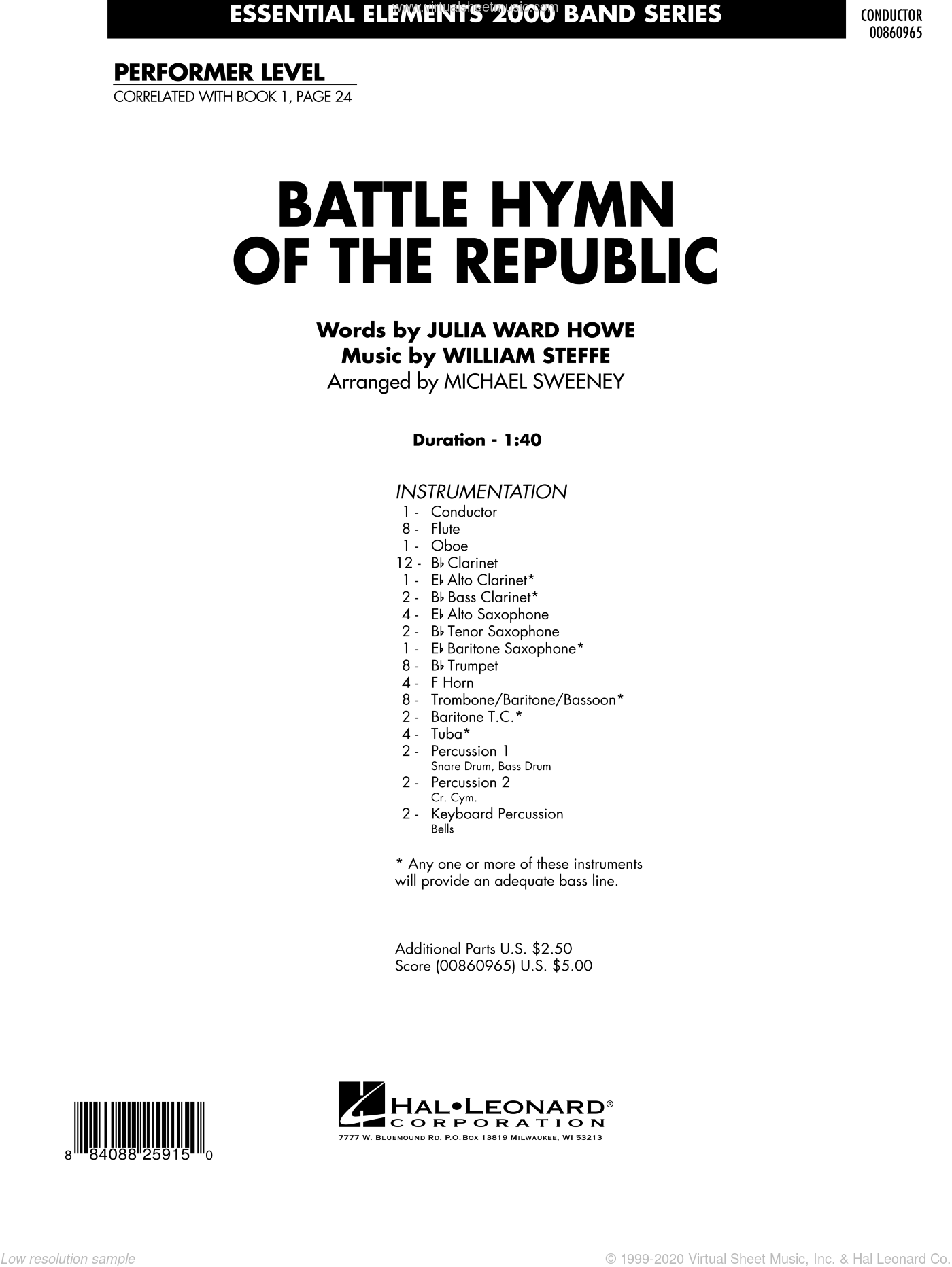 Battle Hymn of the Republic sheet music for concert band (full score) by Michael Sweeney
