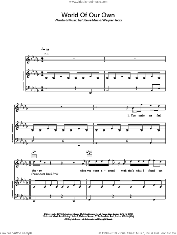 World Of Our Own sheet music for voice, piano or guitar by Westlife. Score Image Preview.