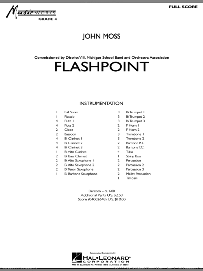 Flashpoint (COMPLETE) sheet music for concert band by John Moss, intermediate skill level
