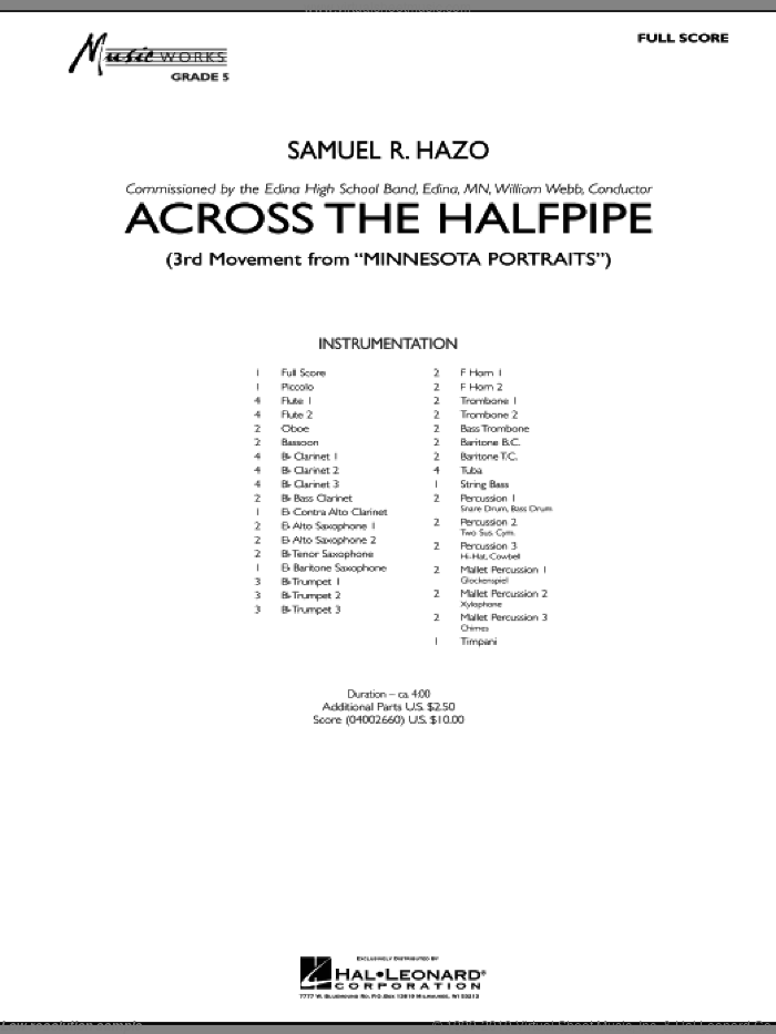 Across the Halfpipe (Mvt. 3 of 'Minnesota  Portraits') (COMPLETE) sheet music for concert band by Samuel R. Hazo, intermediate skill level