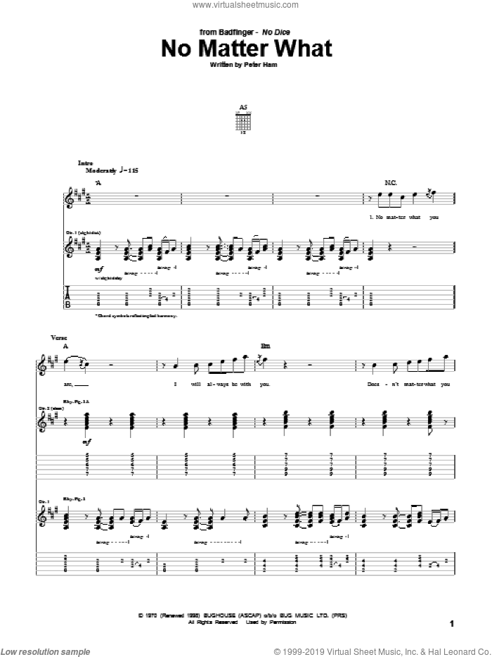 No Matter What sheet music for guitar (tablature) by Badfinger and Pete Ham, intermediate. Score Image Preview.