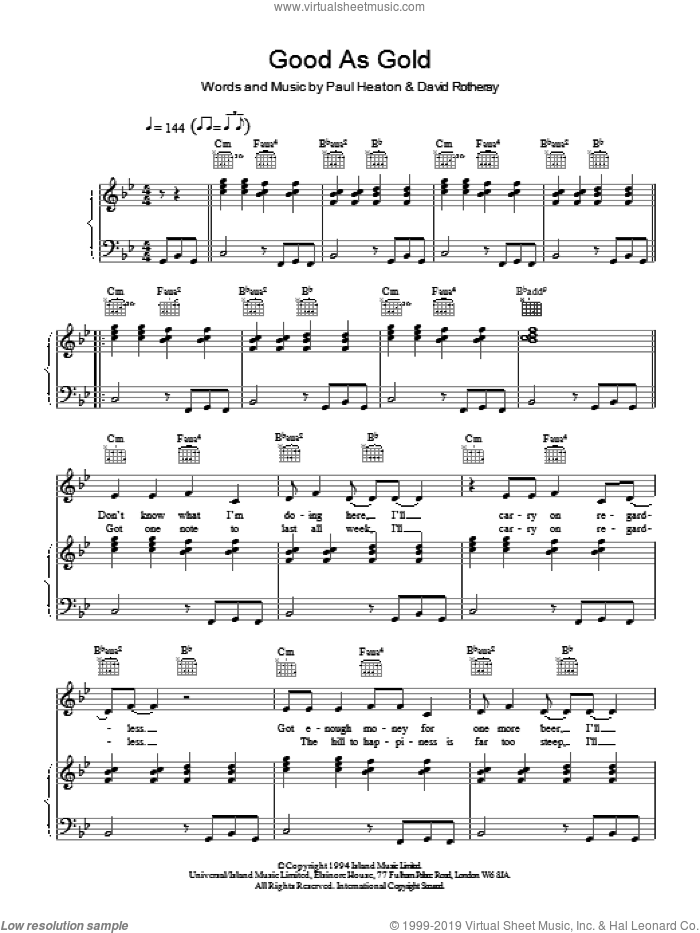 Good As Gold (Stupid As Mud) sheet music for voice, piano or guitar by The Beautiful South, intermediate skill level