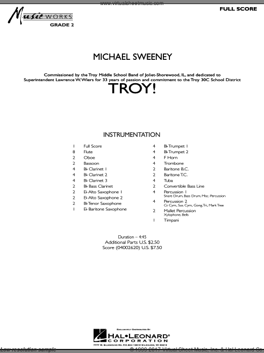 Troy! (COMPLETE) sheet music for concert band by Michael Sweeney