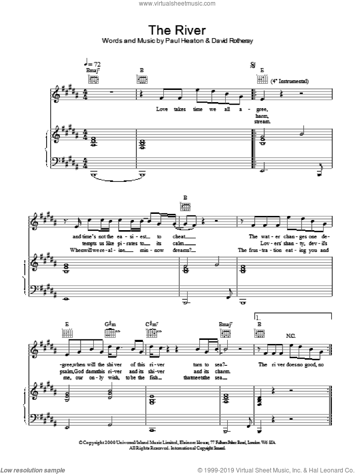 The River sheet music for voice, piano or guitar by The Beautiful South. Score Image Preview.