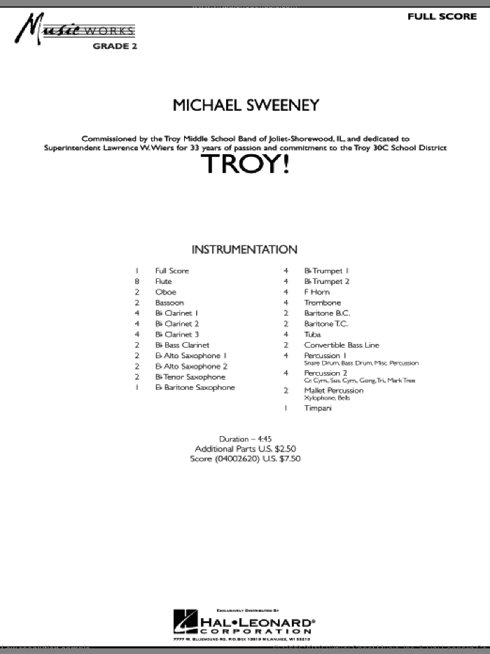 Troy! (COMPLETE) sheet music for concert band by Michael Sweeney, intermediate skill level