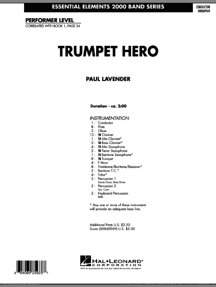 Trumpet Hero (COMPLETE) sheet music for concert band by Paul Lavender, intermediate. Score Image Preview.