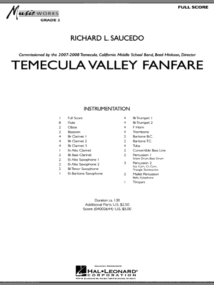 Temecula Valley Fanfare (COMPLETE) sheet music for concert band by Richard L. Saucedo, intermediate. Score Image Preview.