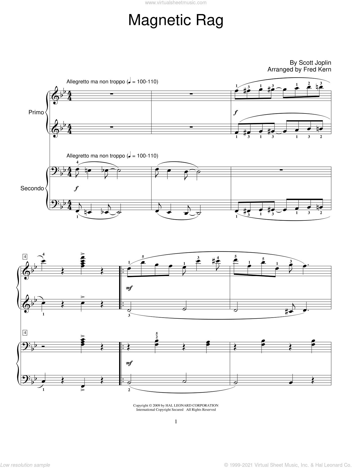 Magnetic Rag sheet music for piano four hands by Scott Joplin, Fred Kern and Miscellaneous, intermediate skill level