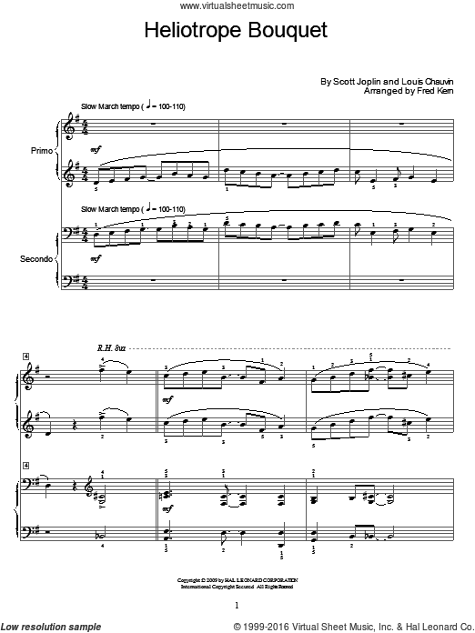 Heliotrope Bouquet sheet music for piano four hands (duets) by Louis Chauvin, Fred Kern, Miscellaneous and Scott Joplin. Score Image Preview.