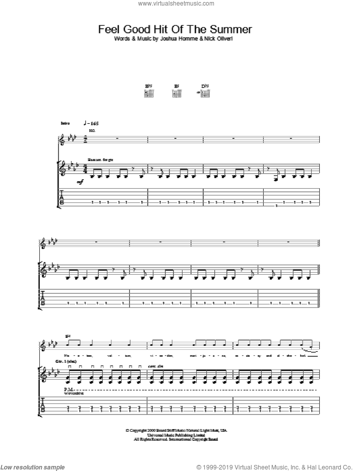 Feel Good Hit Of The Summer sheet music for guitar (tablature) by Queens Of The Stone Age