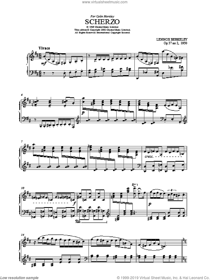 Scherzo sheet music for voice, piano or guitar by Lennox Berkeley, classical score, intermediate voice, piano or guitar. Score Image Preview.