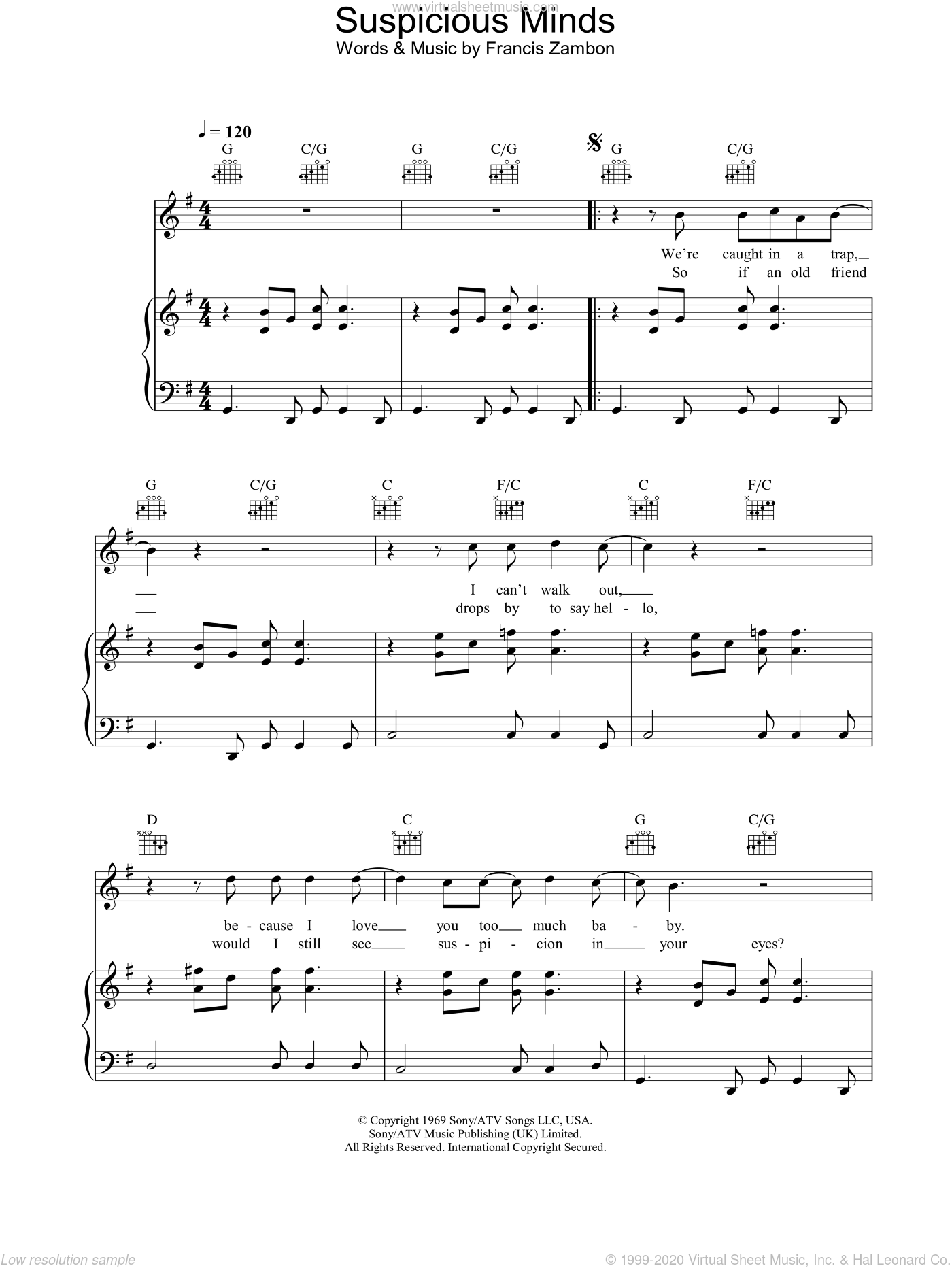Suspicious Minds sheet music for voice, piano or guitar by Gareth Gates and Elvis Presley. Score Image Preview.