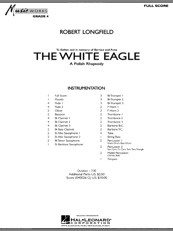 The White Eagle (A Polish Rhapsody) (COMPLETE) sheet music for concert band by Robert Longfield, intermediate. Score Image Preview.
