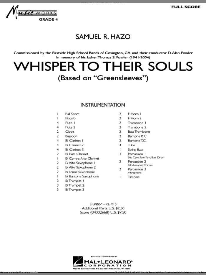 Whisper to Their Souls (based on 'Greensleeves') (COMPLETE) sheet music for concert band by Samuel R. Hazo, intermediate skill level