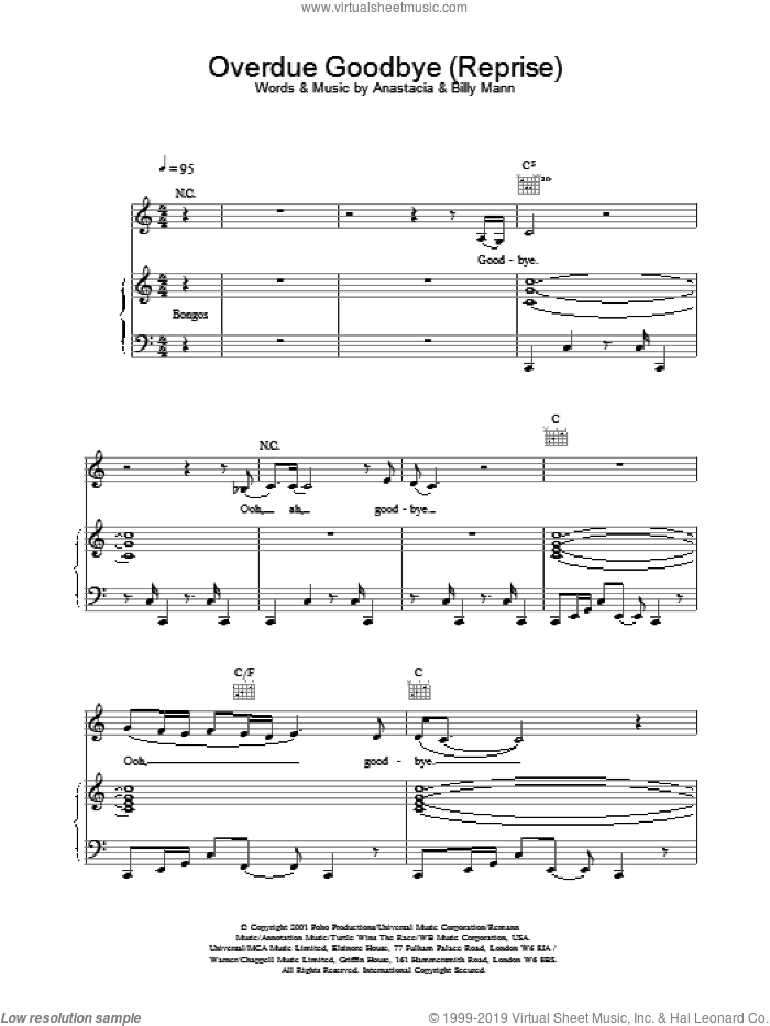 Overdue Goodbye sheet music for voice, piano or guitar by Anastacia