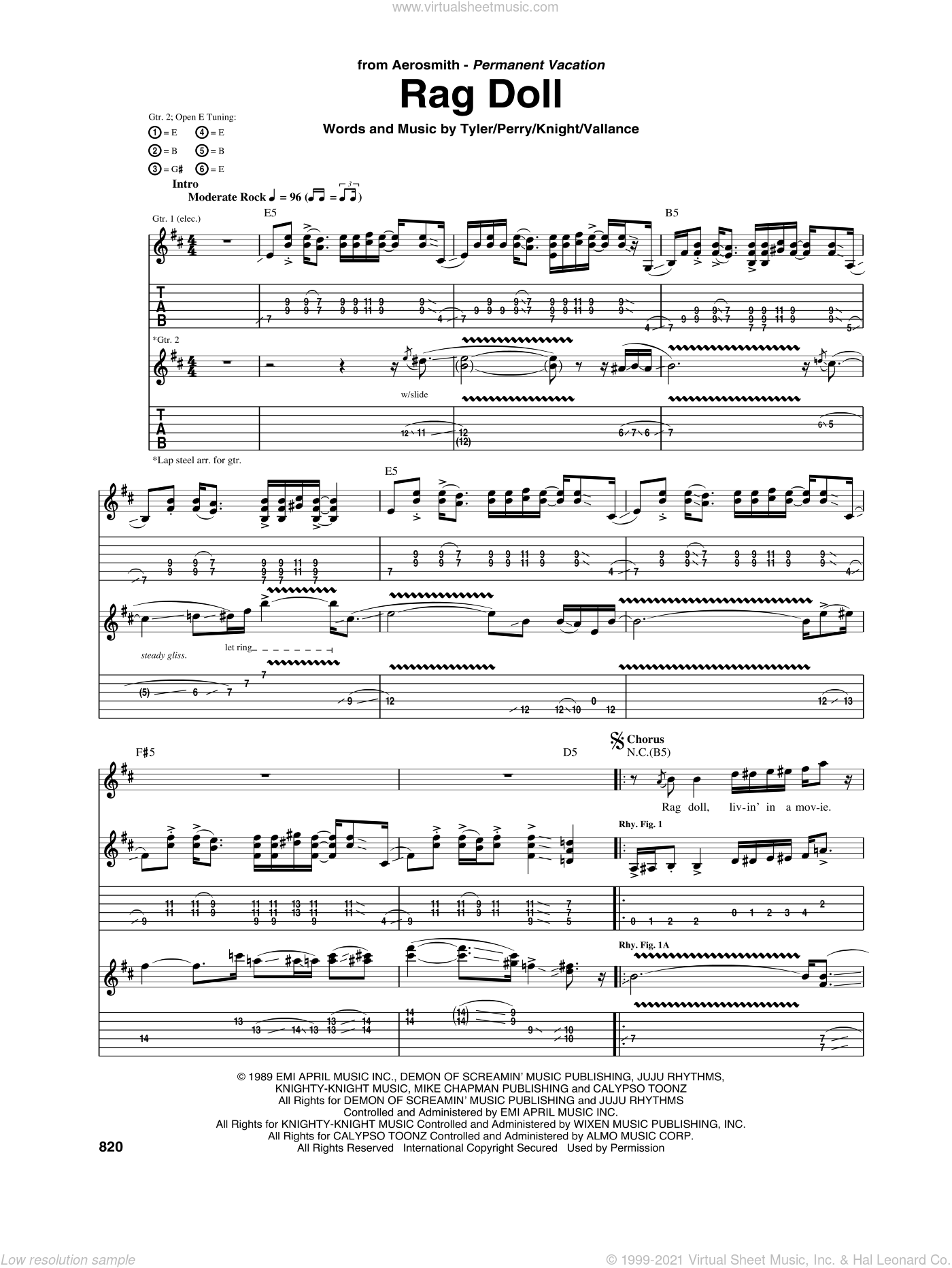 Rag Doll sheet music for guitar (tablature) by Aerosmith and Jim Vallance