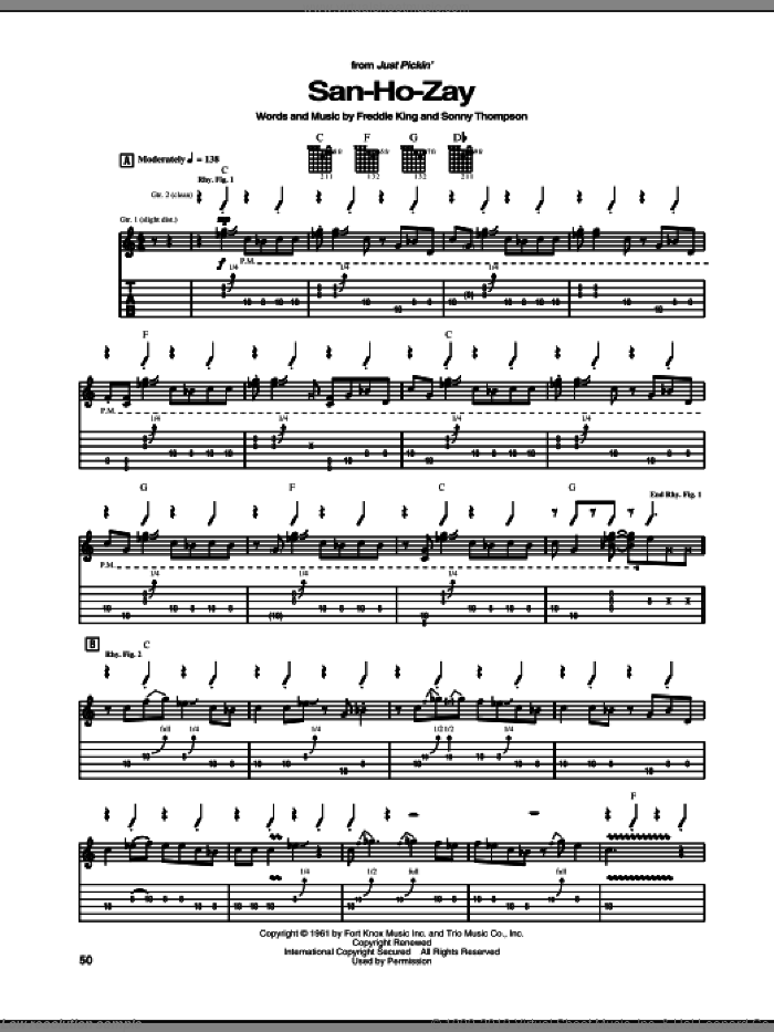 San-Ho-Zay sheet music for guitar (tablature) by Freddie King and Sonny Thompson, intermediate. Score Image Preview.