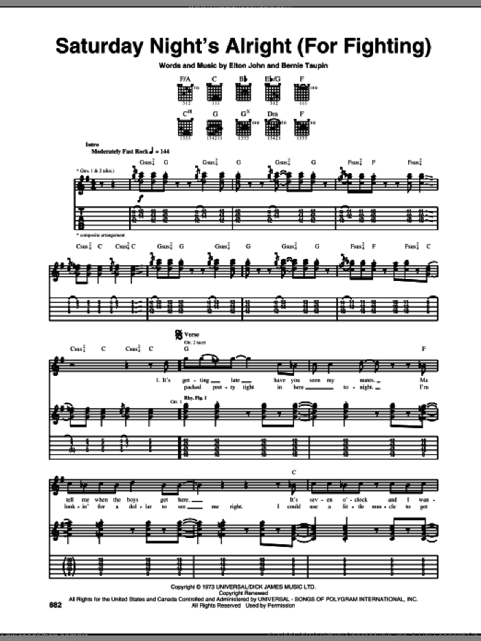 Saturday Night's Alright (For Fighting) sheet music for guitar (tablature) by Elton John and Bernie Taupin, intermediate guitar (tablature). Score Image Preview.