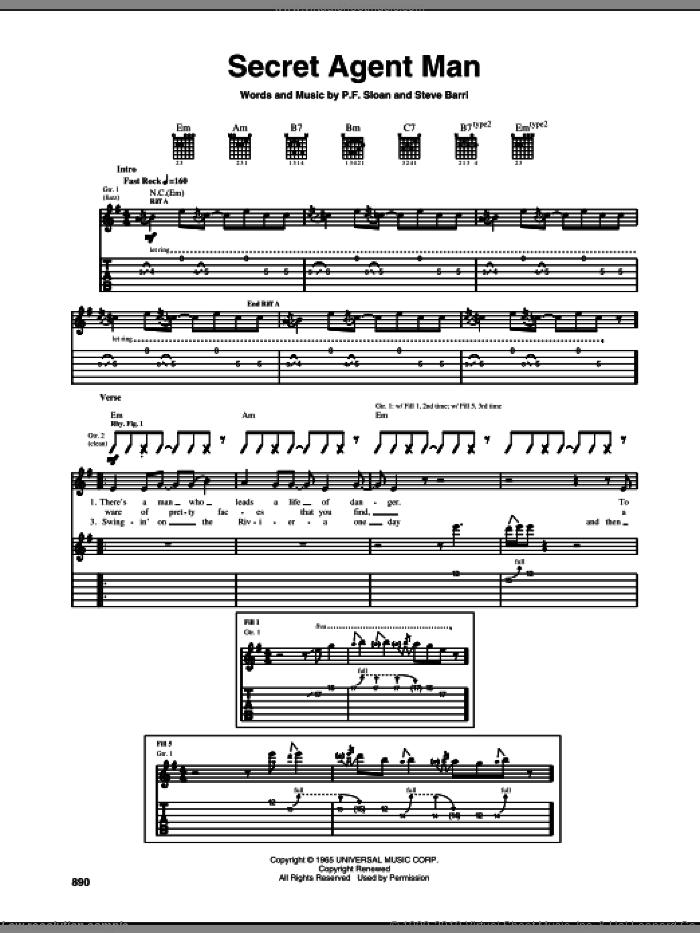 Secret Agent Man sheet music for guitar (tablature) by Johnny Rivers, P.F. Sloan and Steve Barri, intermediate skill level