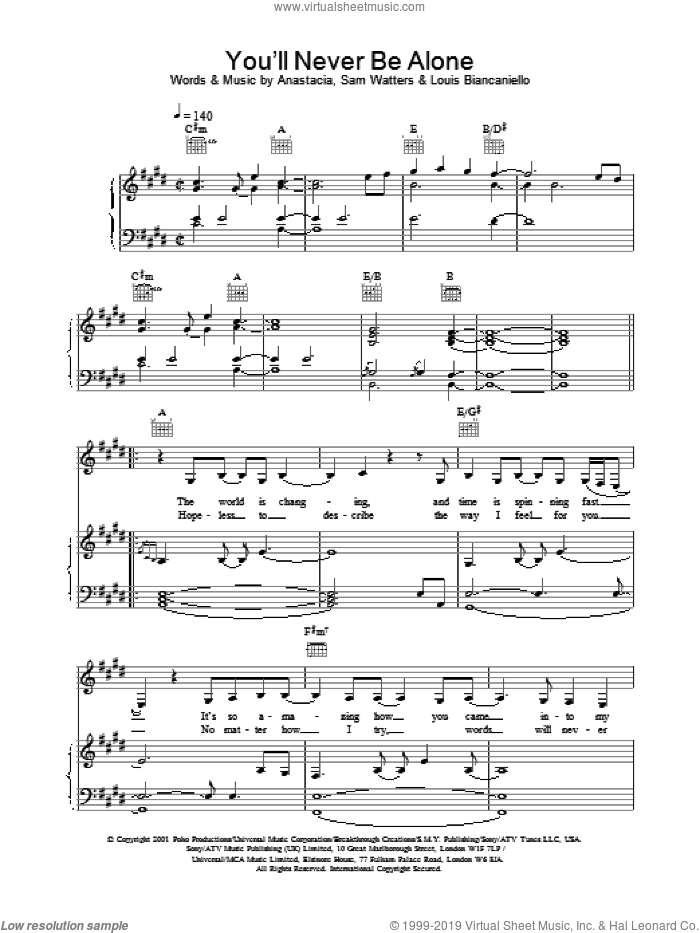 You'll Never Be Alone sheet music for voice, piano or guitar by Anastacia. Score Image Preview.