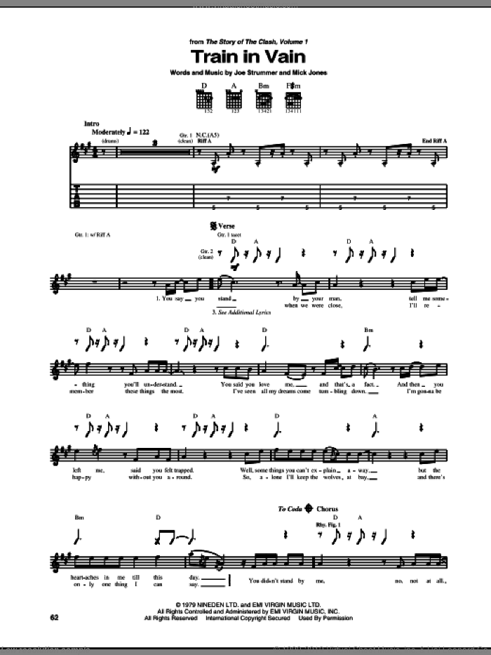 Train In Vain sheet music for guitar (tablature) by The Clash, Annie Lennox and Mick Jones. Score Image Preview.