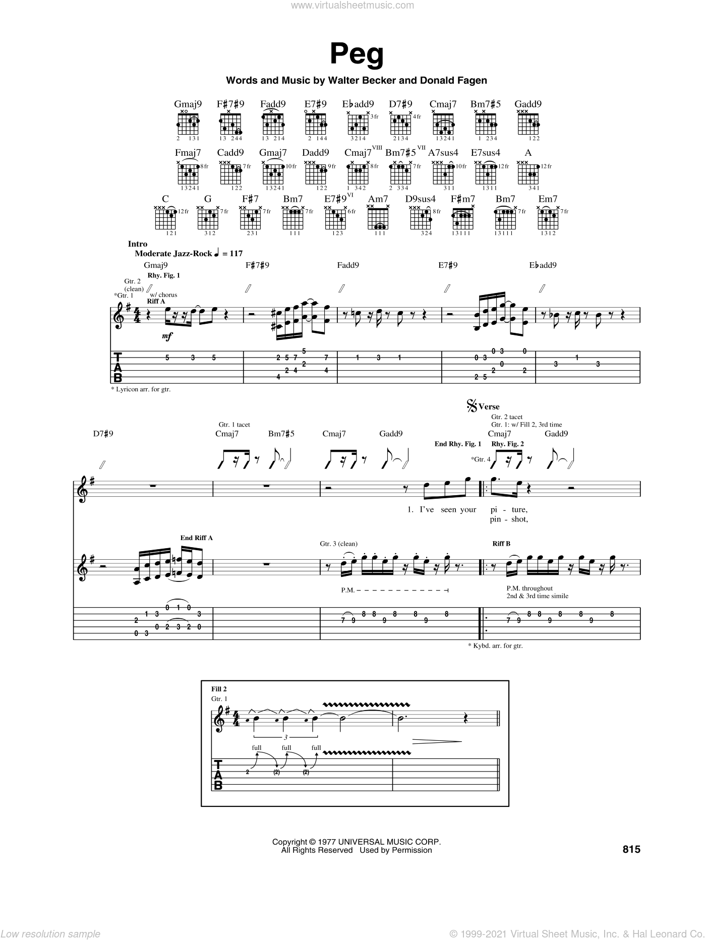 Peg sheet music for guitar (tablature) by Walter Becker