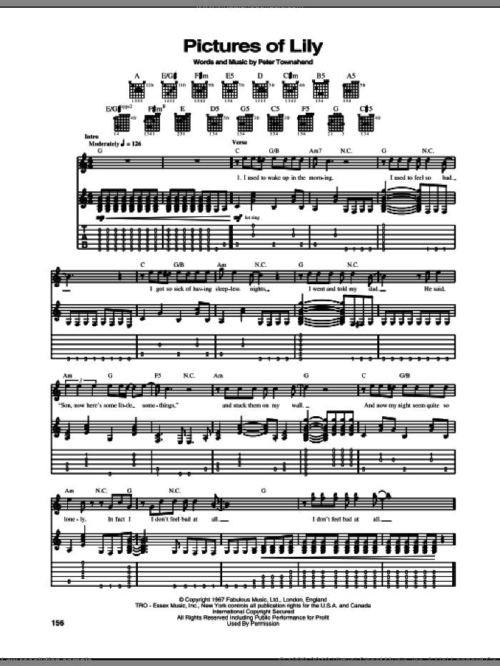 Pictures Of Lily sheet music for guitar (tablature) by Pete Townshend and The Who. Score Image Preview.