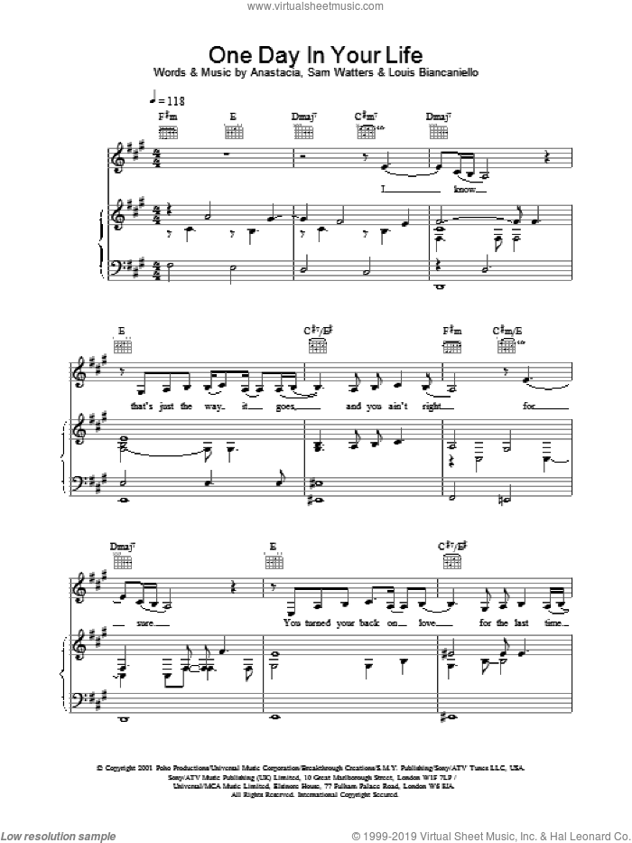 One Day In Your Life sheet music for voice, piano or guitar by Anastacia, intermediate skill level