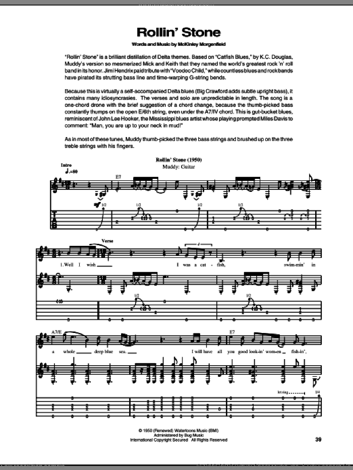 Rollin' Stone (Catfish Blues) sheet music for guitar (tablature) by Muddy Waters, intermediate skill level