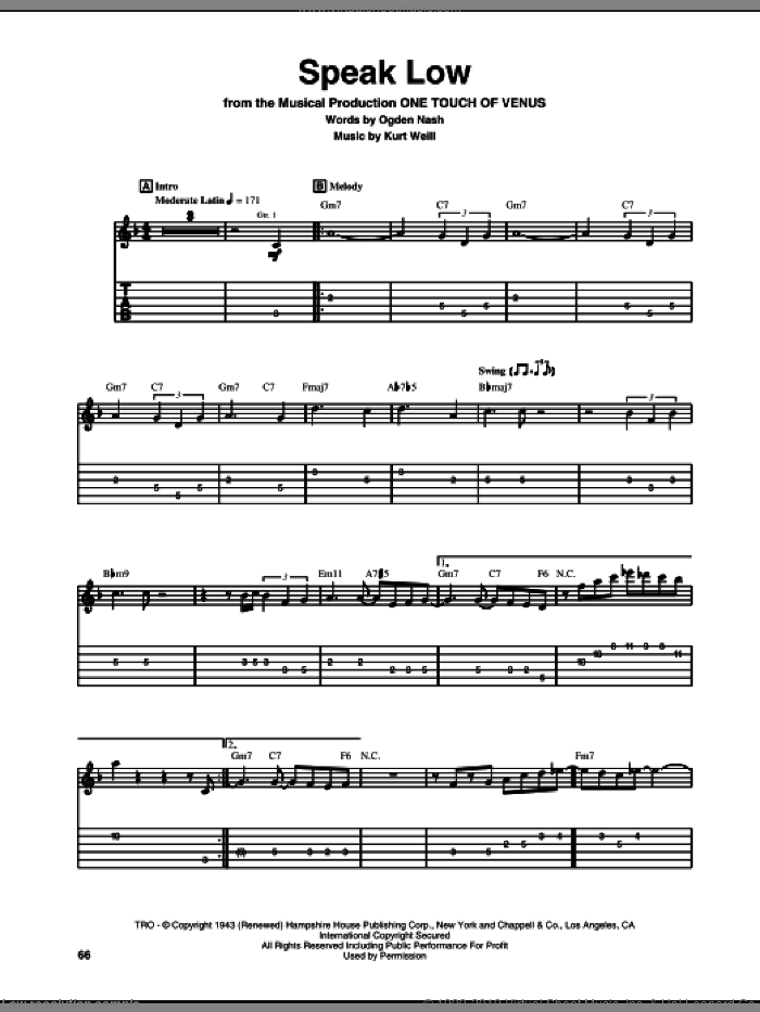Speak Low sheet music for guitar (tablature) by Kurt Weill and Ogden Nash, classical score, intermediate. Score Image Preview.