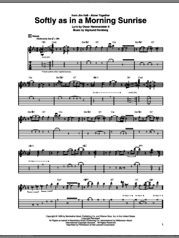 Softly As In A Morning Sunrise sheet music for guitar (tablature) by Jim Hall, Oscar II Hammerstein and Sigmund Romberg. Score Image Preview.