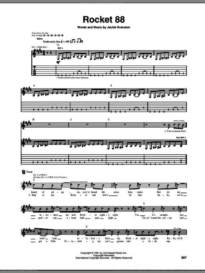 Rocket 88 sheet music for guitar (tablature) by Jackie Brenston