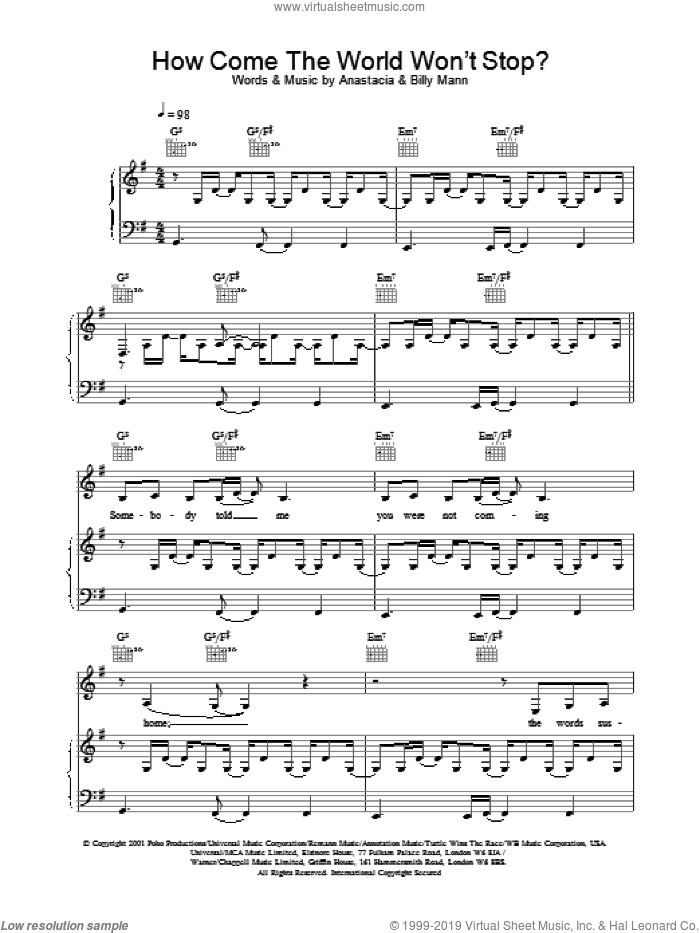 How Come The World Won't Stop? sheet music for voice, piano or guitar by Anastacia. Score Image Preview.