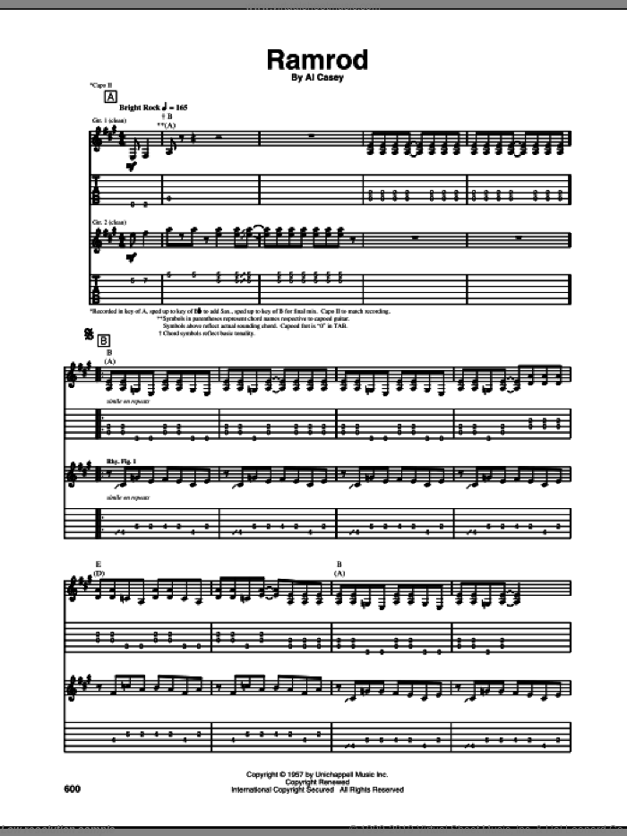 Ramrod sheet music for guitar (tablature) by Duane Eddy and Al Casey. Score Image Preview.