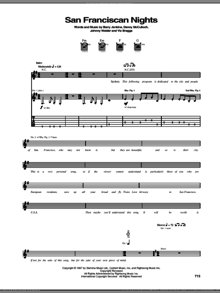 San Franciscan Nights sheet music for guitar (tablature) by Eric Burdon & The Animals, Barry Jenkins, Danny McCulloch, Johnny Weider and Vic Braggs, intermediate skill level