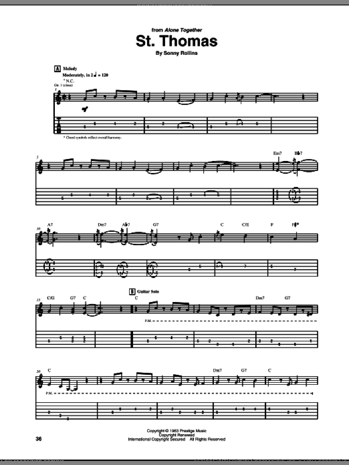 St. Thomas sheet music for guitar (tablature) by Jim Hall and Sonny Rollins, intermediate skill level