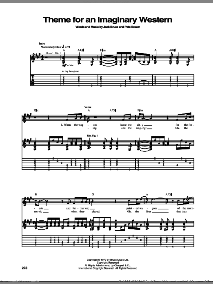 Theme For An Imaginary Western sheet music for guitar (tablature) by Mountain, Jack Bruce and Pete Brown, intermediate guitar (tablature). Score Image Preview.