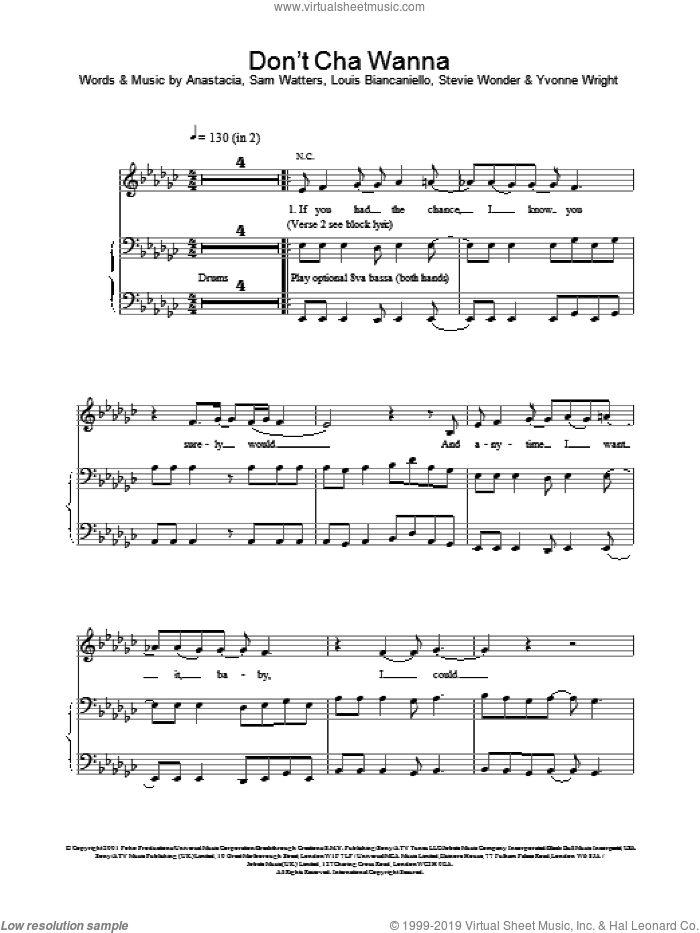 Don't Cha Wanna sheet music for voice, piano or guitar by Anastacia. Score Image Preview.