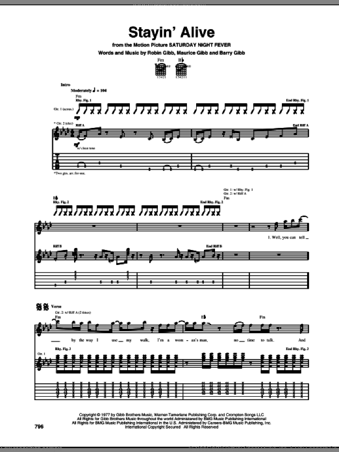 Stayin' Alive sheet music for guitar (tablature) by Bee Gees, Barry Gibb, Maurice Gibb and Robin Gibb. Score Image Preview.