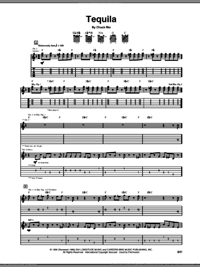 Tequila sheet music for guitar (tablature) by The Champs and Chuck Rio, intermediate. Score Image Preview.