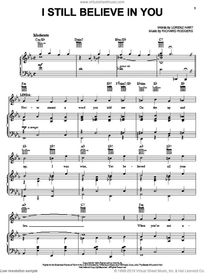 I Still Believe In You sheet music for voice, piano or guitar by Rodgers & Hart, Lorenz Hart and Richard Rodgers, intermediate skill level