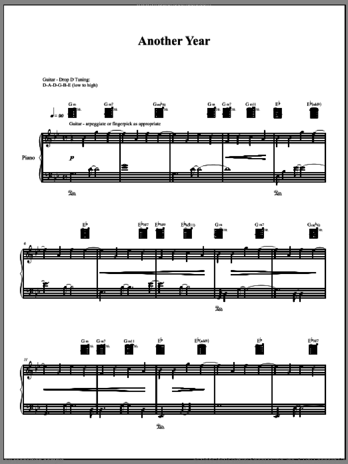 Another Year sheet music for voice, piano or guitar by Amanda Palmer. Score Image Preview.